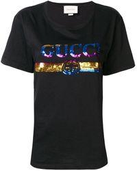 Gucci T-shirt Met Pailletten Logo - Meerkleurig