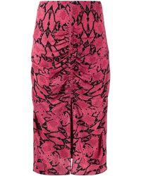 Ba&sh Carry Snakeskin-print Pencil Skirt - Pink