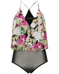 Andrea Marques - Printed Silk Bodysuit - Lyst