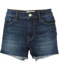 FRAME Le Cut Off Denim Shorts - Blauw
