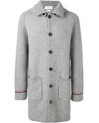 Thom Browne Overwashed Wool Blend Duffle Coat - Gray