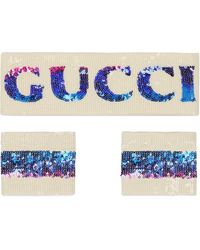 Gucci Sequin Headband And Wrist Cuffs - ブルー