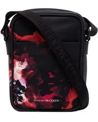 Alexander McQueen プリント メッセンジャーバッグ - ブラック