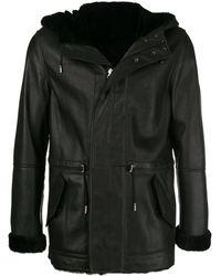 Yves Salomon Chaqueta reversible con capucha de borreguillo - Negro