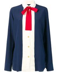Gucci Silk Neck Bow Shirt - Blue