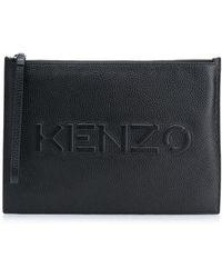 KENZO Клатч На Молнии С Тисненым Логотипом - Черный