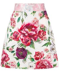 Dolce & Gabbana - Floral Printed Skirt - Lyst