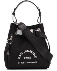 Karl Lagerfeld Logo Print Bucket Bag - Black