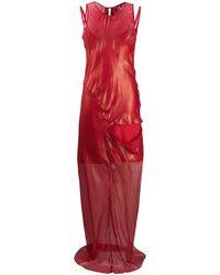 Ann Demeulemeester Длинное Платье С Прозрачной Вставкой - Красный