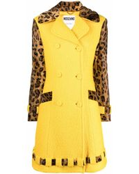 Moschino Leopard-print Bouclé Double-breasted Coat - Yellow