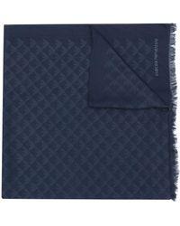 Emporio Armani ジャカードロゴ スカーフ - ブルー