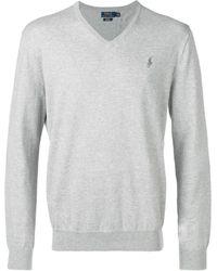 Polo Ralph Lauren ロゴ Vネック セーター - グレー