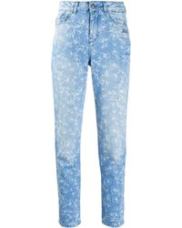Karl Lagerfeld Orchid-print High-rise Slim Jeans - Blue