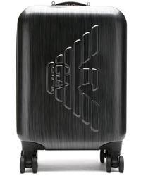 Emporio Armani Bagage de cabine à logo embossé - Noir
