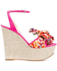 Casadei | Checked Wedge Heels | Lyst