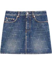 Balenciaga デニム ミニスカート - ブルー