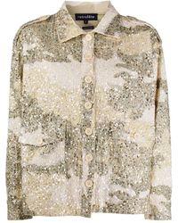 retroféte Camisa con motivo militar y apliques - Multicolor
