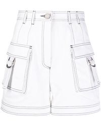 Balmain Contrast Stitch Cargo Shorts - White