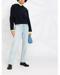 Courreges Kapuzenpullover mit Einsatz - Blau