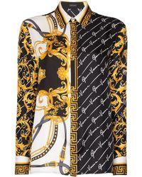Versace Рубашка На Пуговицах С Принтом - Черный