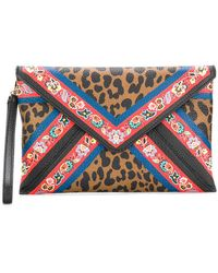 Etro - Leopard Print And Floral Clutch - Lyst
