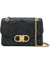 Ferragamo Quilted Gancini Flap Bag - Zwart