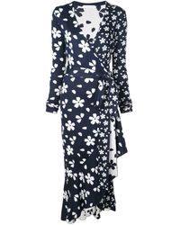 Oscar de la Renta Floral Silk-blend Knit Midi Wrap Dress - Blue