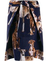 Sara Roka Vea Dog-print Skirt - Blue