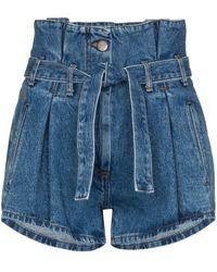 The Attico High Waist Belted Denim Shorts - Blue