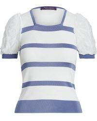 Ralph Lauren Collection Horizontal-stripe Short-sleeve Top - Blue