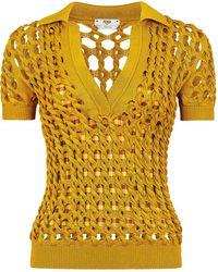 Fendi Вязаная Рубашка Поло - Желтый