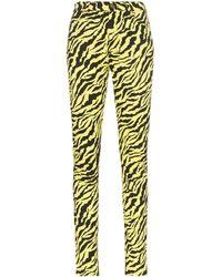Gucci Jean Skinny Taille Haute À Imprimé Tigre Fluo - Jaune