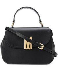 Moschino Logo Plaque Cross Body Bag - Black