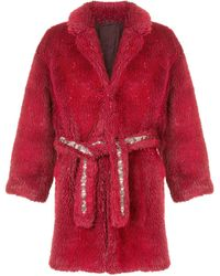 Doublet Oversized Belted Coat - Red
