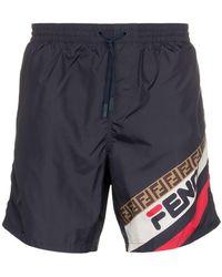 Fendi - Mania Logo Print Swim Shorts - Lyst