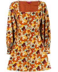 STAUD フローラル ドレス - オレンジ