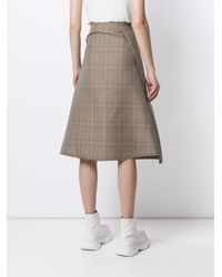 we11done Asymmetric Checked Skirt - Brown