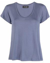 Styland ロゴ Vネック Tシャツ - ブルー