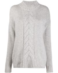 N.Peal Cashmere Cable-knit Jumper - Grey