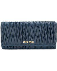 Miu Miu Cartera continental Matelassé - Azul