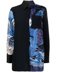 Ferragamo Рубашка Со Вставками - Синий
