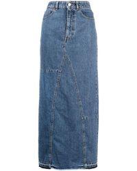 Trussardi High-rise Denim Maxi Skirt - Blue
