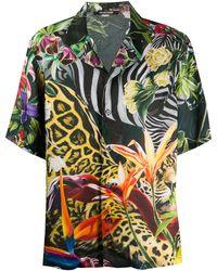Roberto Cavalli Рубашка С Принтом - Зеленый
