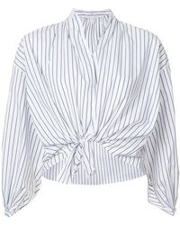 TOME - Striped V-neck Shirt - Lyst