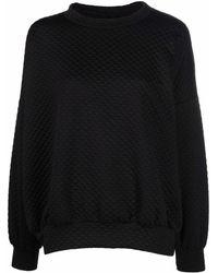 Styland Quilted Crew-neck Sweatshirt - Black