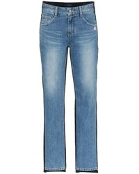 SJYP Mid Rise Corduroy Straight Jeans - Blauw