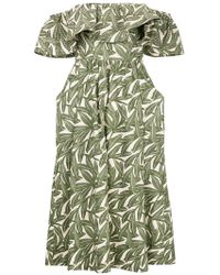 WHIT - Foliage Print Ruffle Trim Dress - Lyst