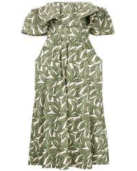 WHIT - Foliage Print Ruffle Trim Dress - Lyst