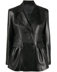 Ermanno Scervino Leather Double Breasted Jacket - Black
