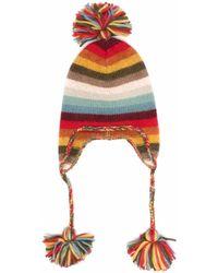 Alanui Striped Pompom Beanie - Red